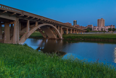 Fort Worth skyline and Henderson Street Bridge at Blue Hour.