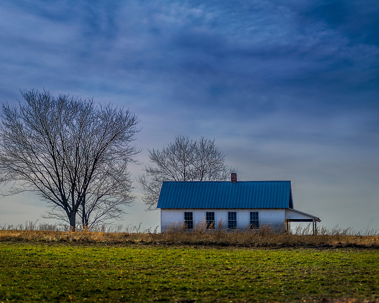 Solitary farm house in Ethridge Tennessee