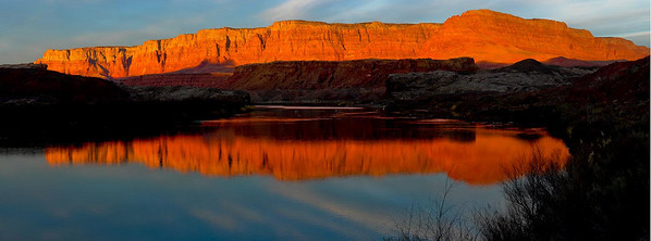 2007-LeesFerryPano03  Lees Ferry at Sunrise, Arizona Strip, Arizona