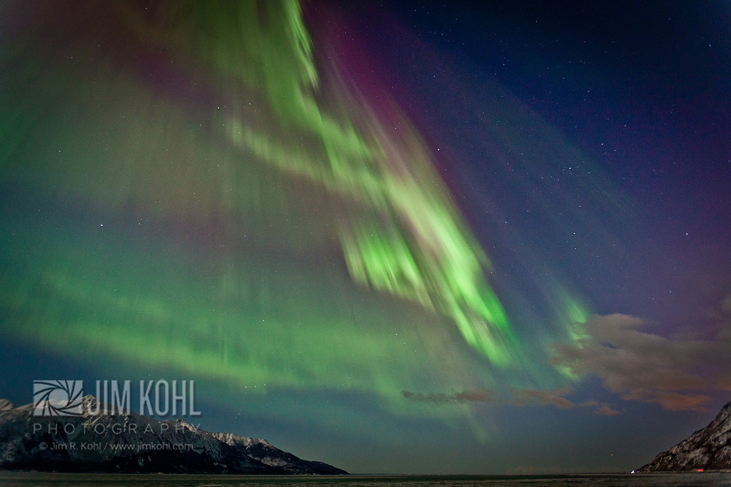 View of the Aurora Borealis over the Turnagain Arm, Southcentral, Alaska, Winter