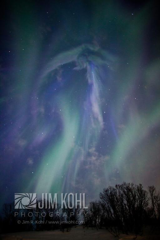 View of the Aurora Borealis over the Chugach Mountains, Southcentral, Alaska, Winter