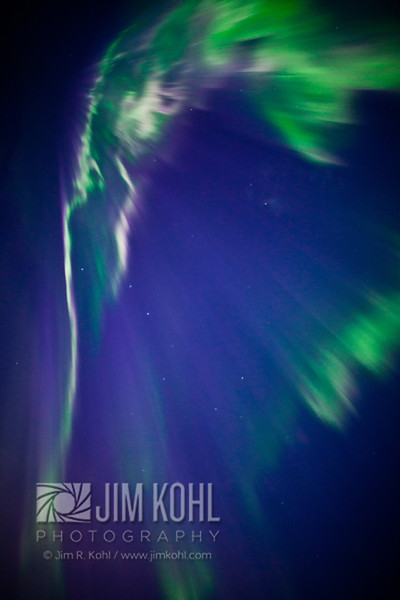 View of the Aurora Borealis over the Chugach Mountains, Southcentral, Alaska, Winter