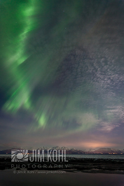 View of the Aurora Borealis over the Cook Inlet, Southcentral, Alaska, Winter