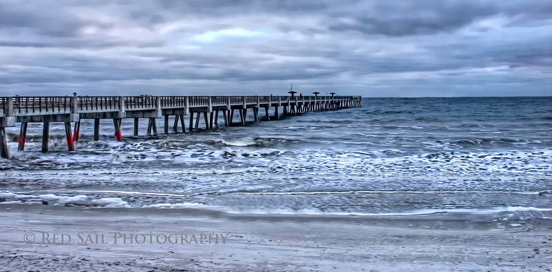 Jacksonville Beach Pier early morning. I was hoping for more red in the sky but the cloud cover was too heavy. (HDRI in details enhancer mode with smoothing filters applied)