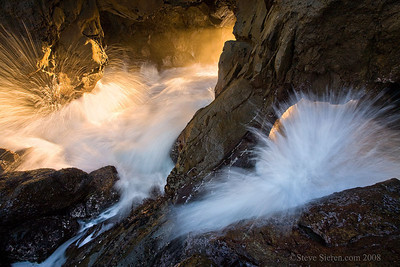 Ocean Spirits Crashing waves in a sea cave along the California Central Coast in Big Sur.