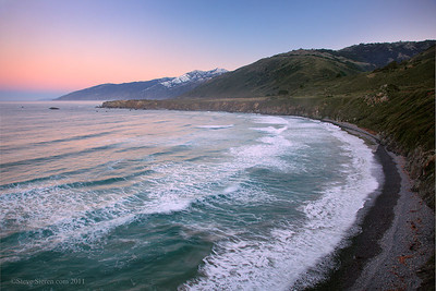 Dramatically low snow level on Cone Peak in Big Sur.  A seldom seen view from Sand Dollar Beach on the Pacific Ocean along California's Central Coast.