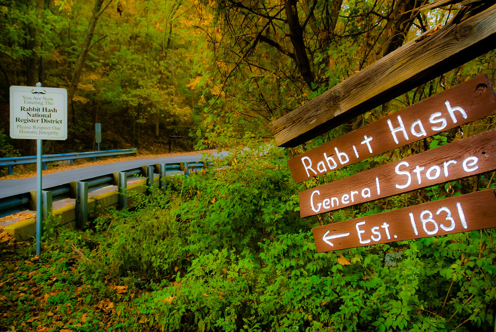 This is the sign that puts you on the right road to the Rabbit Hash General Store in Rabbit Hash, KY (USA).