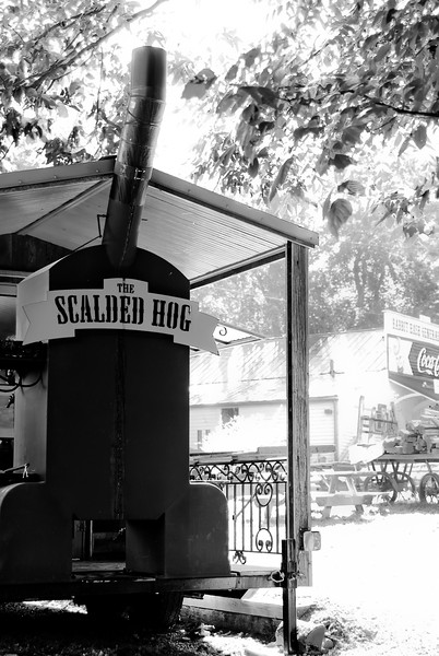 """The Scalded Hog is the newest addition to downtown Rabbit Hash! This mobile """"restaurant"""" can be moved any time the river is high."""