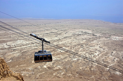 Cable car riding up to Masada.