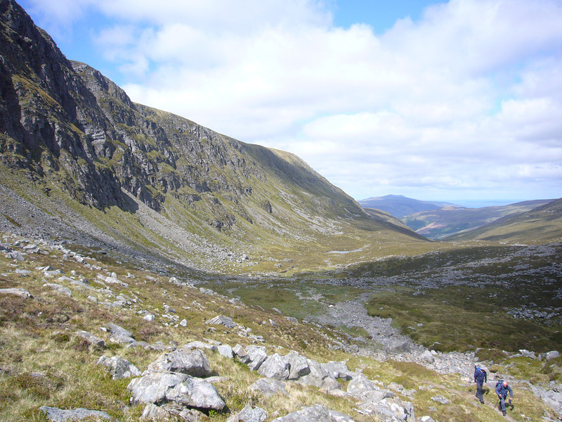 June 2012. Climbing towards the bealach below the summit of Beinn Dhearg (3556 ft/1084 m), near Ullapool, Highland, Scotland.