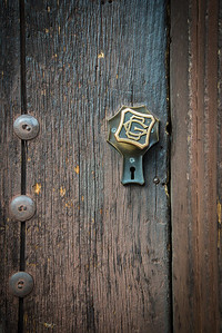 Ornate door handle on the Grand Canyon Railway Depot at Grand Canyon Village, Arizona.