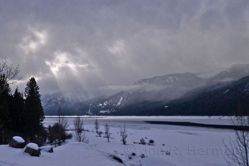 Sun and Snowstorm Over Lake Cle Elum