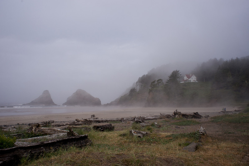 A misty morning at Haceta Head lighthouse.