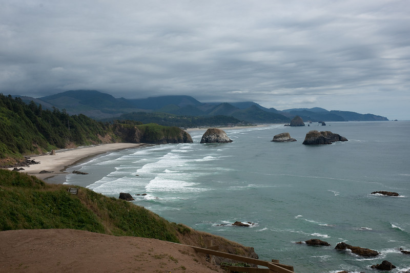 "Gorgeous view south down the coast from Ecola State Park.  The famous ""haystack"" rock at Cannon Beach is visible in the background."