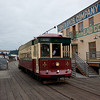 Cute waterfront streetcar in Astoria.