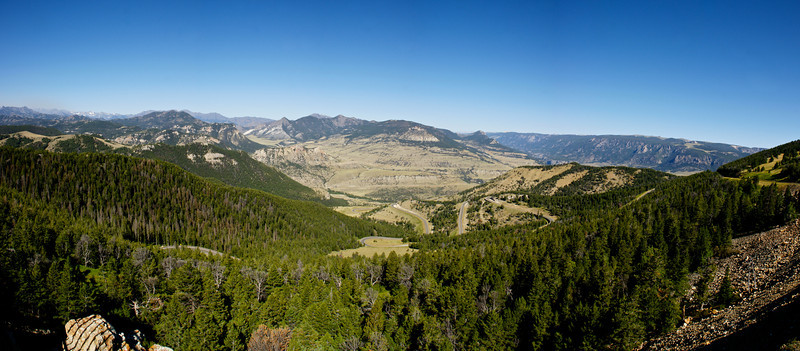 Chief Joseph Highway winds through the mountains of northern Wyoming.