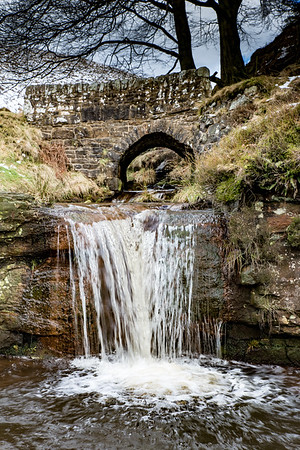 Waterfalls and Packhorse Bridge at Three Shire's Head