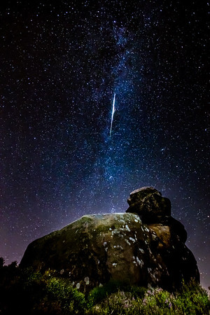 Perseid Meteor and Milky Way at Ramshaw Rocks