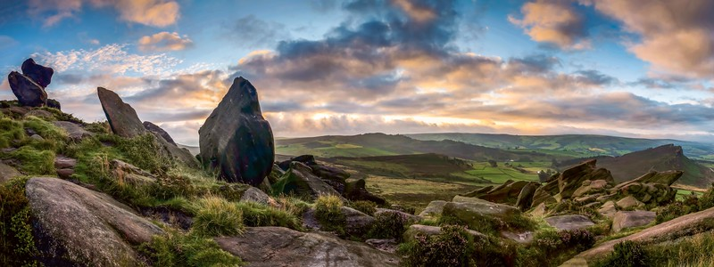 Daybreak at the Roaches - Panorama