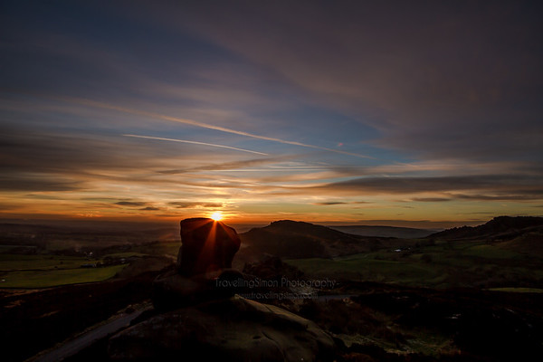 Ramshaw Rocks and Hen Cloud at Sunset