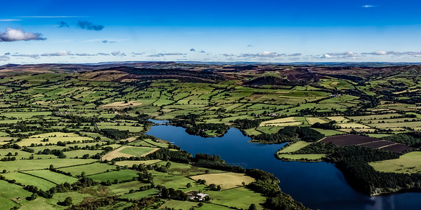 Fernilee Reservoir, The Roaches and Hen Cloud, from the air.