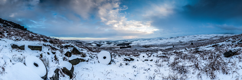 Stanage Millstones Winter Panorama