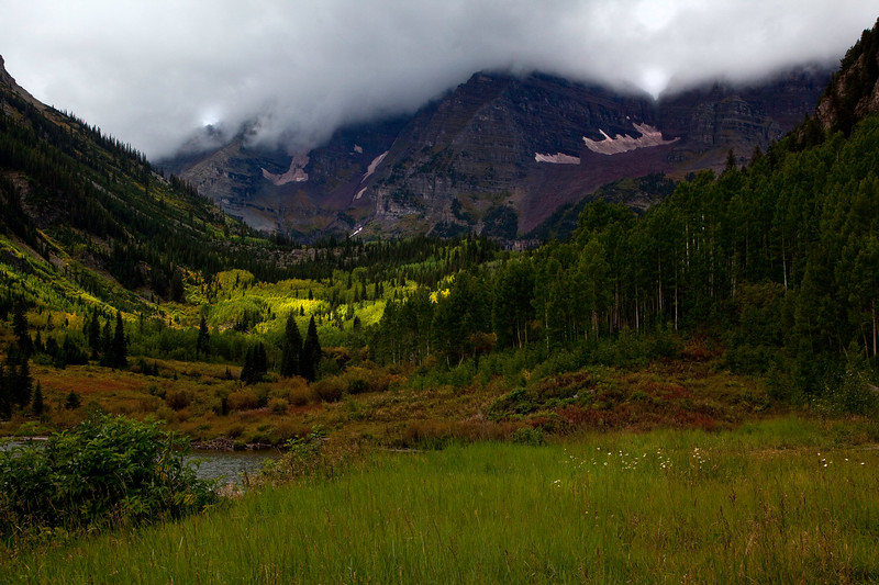 Maroon Lake with Maroon Bells in Cloud cover