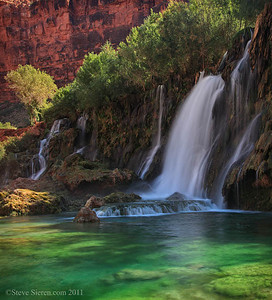Navajo Falls in the Grand Canyon West The water's color comes from minerals in spring water
