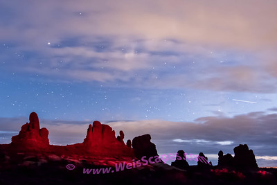 Moonlit clouds at Arches NP
