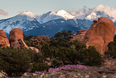 La Sal Mountains at Sunset from Devil's Garden Campsite