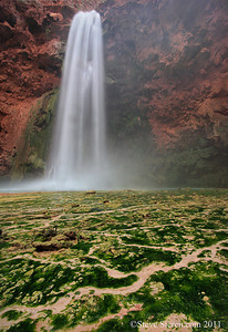 Moony Falls is known as the mother of waterfalls.  It is located in Havasu Canyon a tributary to the Colorado River inside the Grand Canyon near the village of Supai inhabited by the Navajo Indians.