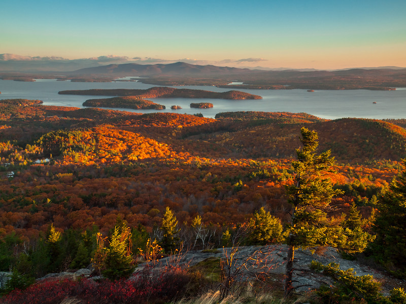 From Mt. Major. Jeff Sinon is just behind and to the right of me and I don't know what was shaking more, my tripod or me. Wicked windy and very cold. Even weighted with a backpack, I think there's too much movement, but I like the light and the little lit up trees. Next time, I'll lug the big Bogen up there. Promise.