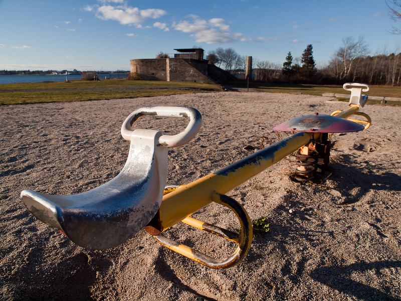 I was going to do this with some extreme processing because the playground next to the defunct military base reminds me of that scene in Terminator, but I didn't.  I might still though.  This is at Fort Foster in Kittery.
