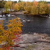 Rock, water, trees, sky - sat on the abutment with my feet dangling, it was fantastic!  The view from a disused train tressle bridge over the Merrimack in Manchester, NH.
