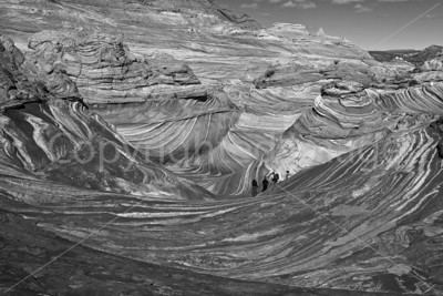 Visitors in The Wave (B&W)