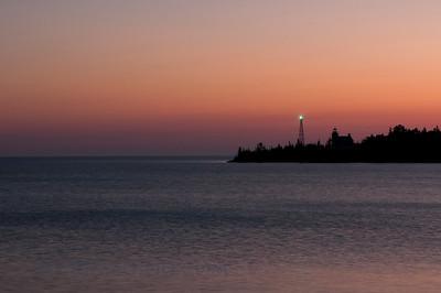 Sunrise over Copper Harbor lighthouse.