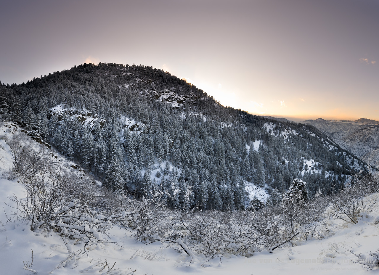 Snowy sunset at the end of Beaver Brook trail on Lookout Mountain, Golden, Colorado
