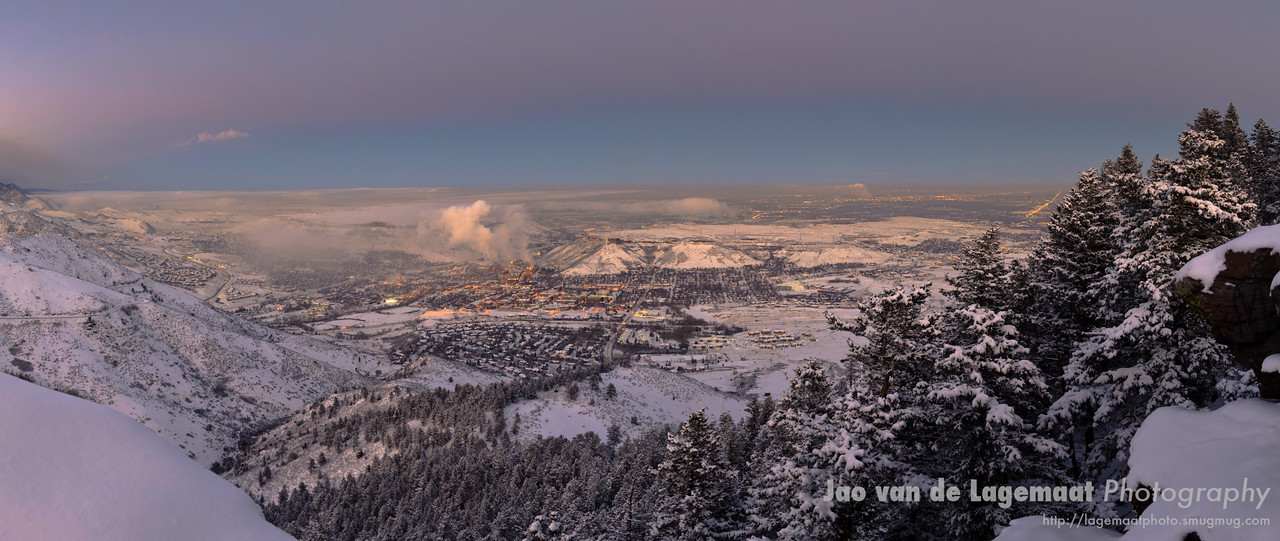 Panorama of the city of Golden at Dusk from Lookout mountain