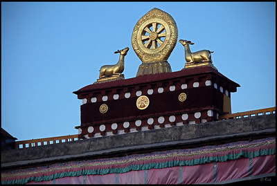 Gilded bronze decorations on the roof, the Jokhang temple