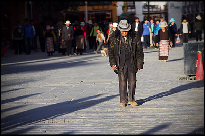 Old Man Walking on the Barkhor Square