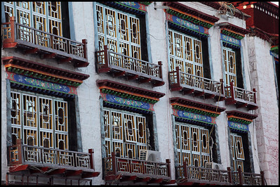 Colorful Tibetan style building decorations, the Barkhor Square