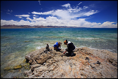 Children Playing on the Shore of Lake Namtso