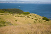 """East Bay View 2633 - Looking down the ridge from Founder's Rock at the Southernmost tip of the Tiburon Peninsula known as the""""Martha Propery,""""toward the East Bay with Berkeley in the distance, Keil Cove in the center on the north side of this ridge."""