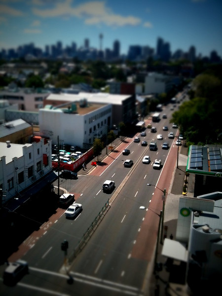 This is the rooftop view of our apartment in the city. This photo was taken with my iphone using a tilt-shift progam.