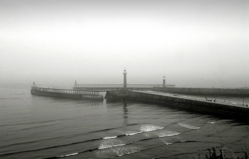 Whitby Piers Misty