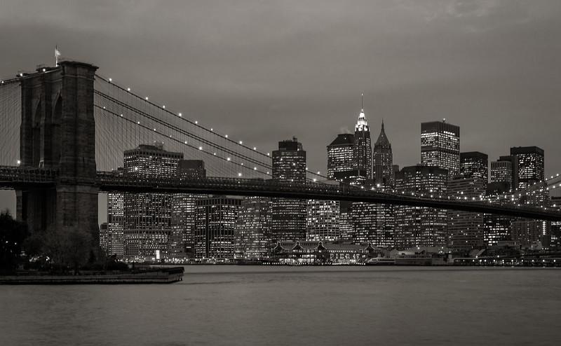 New York - Brooklyn Bridge and Skyline, 19-11-2007 (IMG_1203) Nik CEP4 - Paper Toner 5 4k