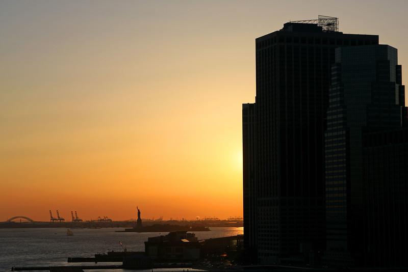 Sunset over Staton Island and Liberty Island