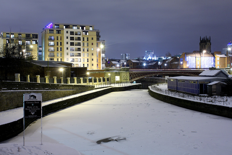 Clarence Dock and Crown Point Bridge, Leeds in Snow