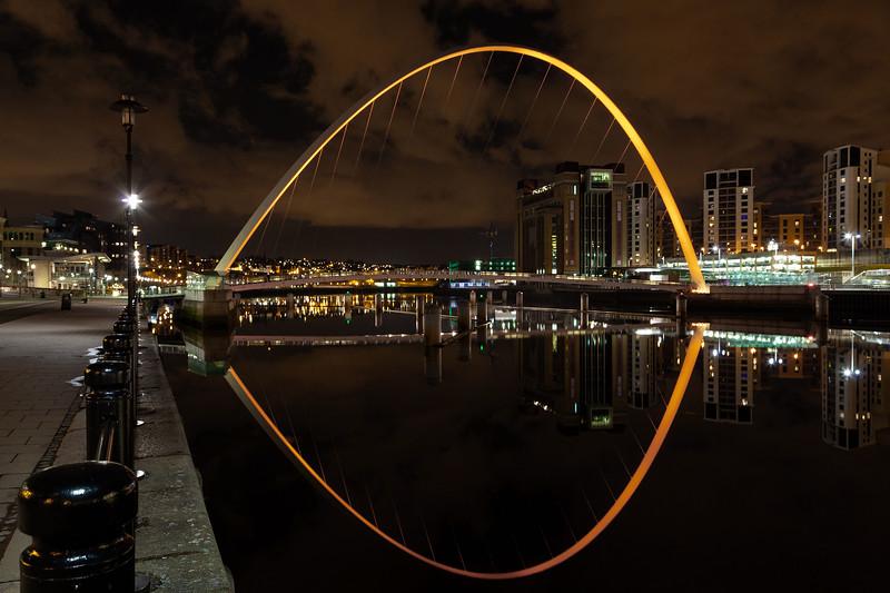 Millennium Bridge, Newcastle (Orange Uplighters)