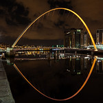 Millennium Bridge, Newcastle (Orange Uplighters)